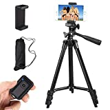 Phone Tripod, 42 Inch 106cm Aluminum Lightweight Extendable Tripod Stand with Holder Mount and Bluetooth Wireless Remote Shutter for Camera and for iPhone Samsung etc and Other Android Smartphones