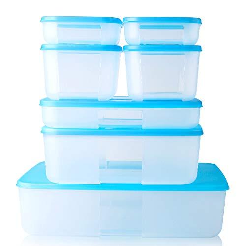 xiaoli Fiambrera El Conjunto de 7 de plástico Transparente Cajas rectangulares de Almacenamiento de Caja Caja sellada Fresca Refrigerador Congelador...