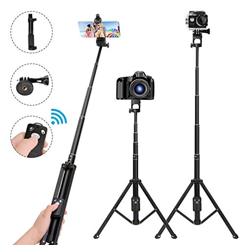LEXY Selfie Stick Tripod,54 Inch Extendable Camera Tripod for Cellphone,Bluetooth Remote for Apple & Android Devices,Suitable for iPhone 6 7 8 X Plus,Samsung Galaxy S9 Note8,Gopro Adapter Included