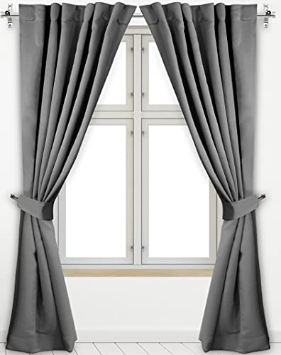 Utopia Bedding 2 Panels Rod Pocket Blackout Curtains with 2...