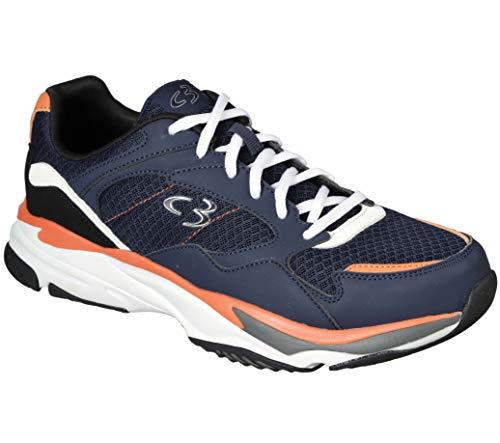 Concept 3 by Skechers Men's Xavien Lace-up Sneaker, Navy/Orange, 9.5 Medium US