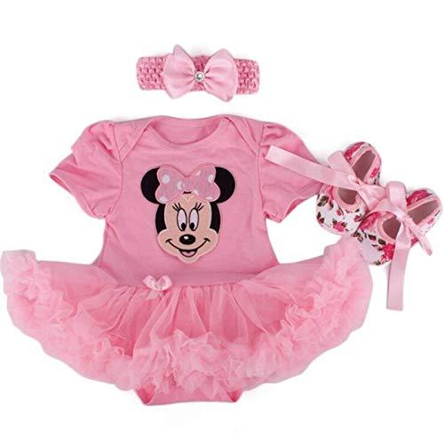 JINSUO Första julen nyfödd baby flicka kostym sparkdräkt babykläder Minnie klänning set 3 st Bebe kläder barn spädbarn klänning för Gir (färg: Kaffe, barnstorlek: 9 m)