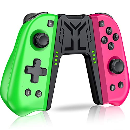 Kydlan Switch Controller Compatible with Nintendo Switch Joycon, Switch L/R JoyPad Replacement for joycon controller with Programmable Macro,Turbo&Vibration,Ergonomic Switch Remote Pink and Green Grip