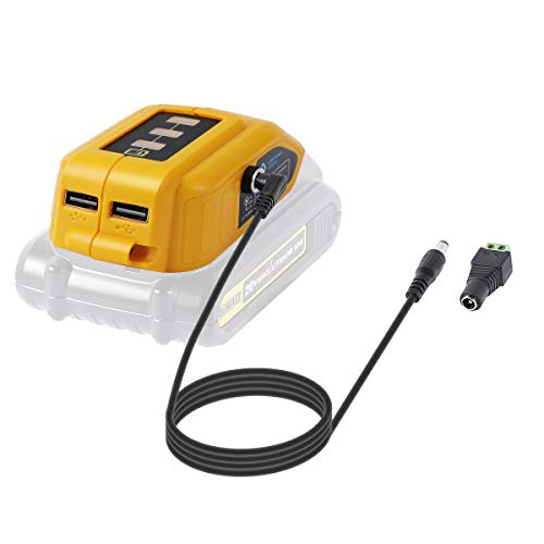 LANMU Battery Adapter for Dewalt 18V/20V Lithium Ion Battery,TS100 Soldering Iron,USB Charger for Dewalt,Power Source,Power Supply Compatible with Dewalt DCB090 DCB091 (Yellow)