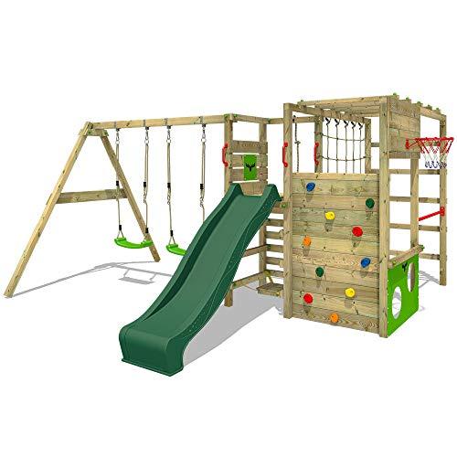 FATMOOSE Klettergerüst Spielturm ActionArena Air XXL mit Schaukel & grüner Rutsche, Gartenspielgerät mit großer Kletterwand & Reckstange