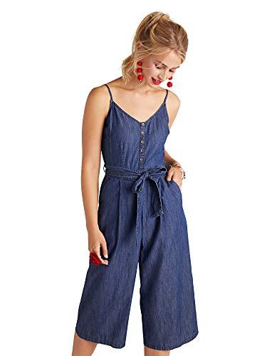Yumi damski dżinsowy kombinezon z guzikami detal sukienka na co dzień
