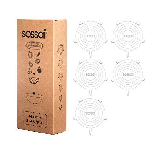 5 x Sossai Stretch Lids - Couvercle Extensibles en Silicone | diamètre: 145 mm | Utilisation universelle dans la cuisine et le ménage | Film étirable alternatif