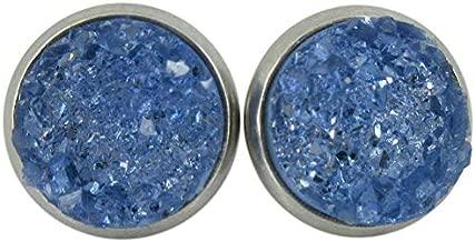 Stainless Steel Glacier Blue Faux Druzy Stone Stud Earrings 10mm