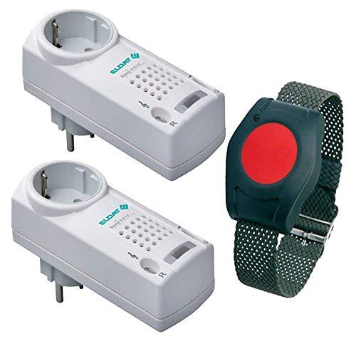 ELDAT Senioren Sicherheitspaket 5: Hausnotruf mit wasserdichtem Notrufarmband und 2 Funk Empfängern für häusliche Pflege; Notrufsystem mit Notruf Armband; Pflegeruf Set mit Quittierungsfunktion