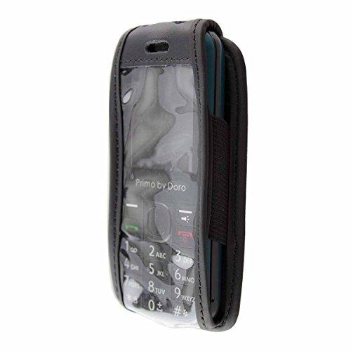 caseroxx Ledertasche mit Gürtelclip für Doro Primo 305 aus Echtleder, Handyhülle für Gürtel (mit Sichtfenster aus schmutzabweisender Klarsichtfolie in schwarz)