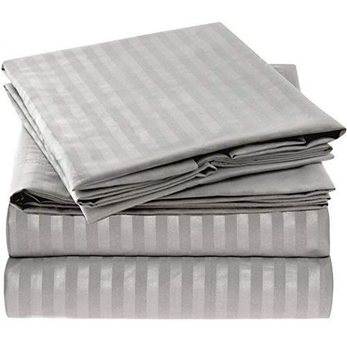 Mellanni Striped Bed Sheet Set - 1800 Bedding - Wrinkle, Fade, Stain Resistant - 4 Piece (King, Striped - Gray / Silver)