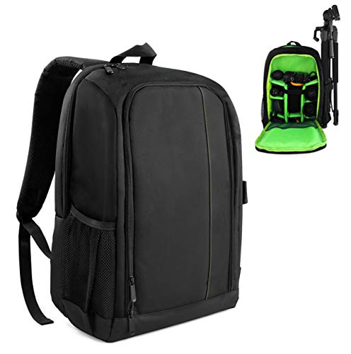 "MyGadget Zaino Fotografico - Custodia per Macchina Fotografica Reflex, Obiettivi e Laptop fino a 15"" - Camera Backpack Impermeabile per DSLR - Verde"