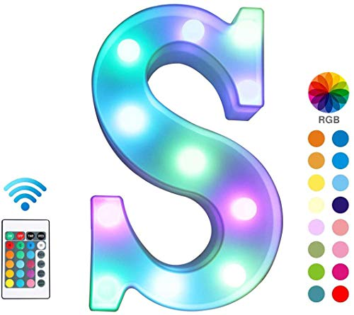 Pooqla Colorful LED Marquee Letter Lights with Remote – Color Changeable Light Up Alphabet Signs – Party Bar Letters with Lights Decorations for The Home - Multicolor S
