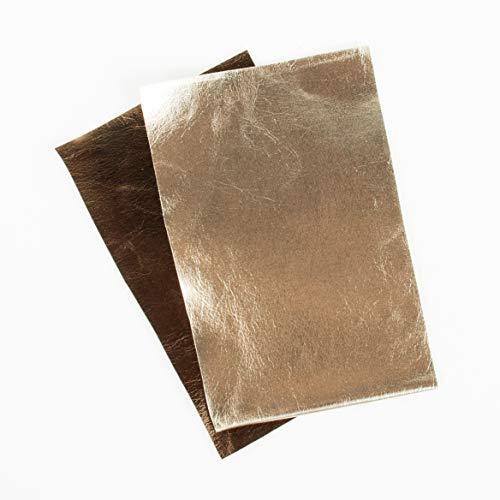 Rayher 53997617 Metallic Kunstleder-Zuschnitte, 2 Farben, gold/mocca, 9,5 x 15 cm, 2 Stück, zum Nähen und Basteln
