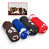4 Pack Dog Blanket, Juqiboom Cat Soft Warm Fleece Bed Cover, Mat Fluffy Blanket with Cute Paw Print for Puppy Kitten Home Using, Camping Mat, Car Seat