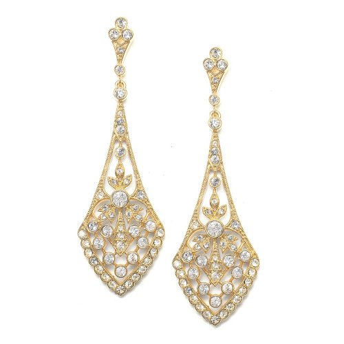 Mariell Zirconia Crystal Gold Art Deco Wedding Dangle Earrings for Women, Jewelry for Bride, Bridesmaids
