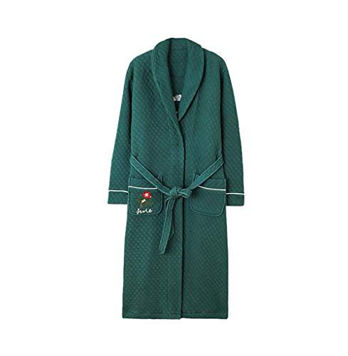 Albornoz Super Suave,Pijamas de Invierno para Mujer,Algodón Puro más camisón Largo, Albornoz cálido y Grueso-C_M