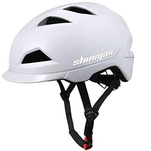 Shinmax Casco Bicicleta,Casco de Ciclismo con Luz Luz LED Recargable,Certificación CE,Ajustable Cascos Mountain Road Motocicleta,Ligera para Montar Ski & Snowboard Unisex Cascos Bici Adultos 57-62CM