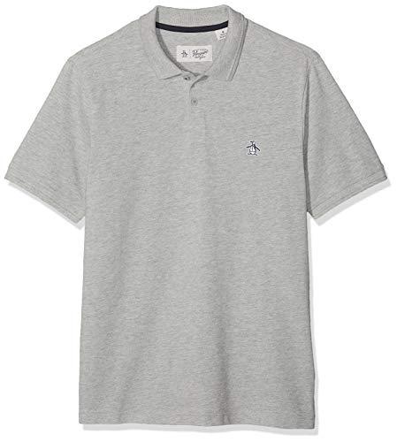 ORIGINAL PENGUIN Herren Raised Ribbed Poloshirt, Grau (Rain Heather 080), X-Large