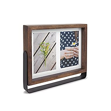 Umbra Axis Picture Frame, 4 by 6-Inch Double, Aged Walnut