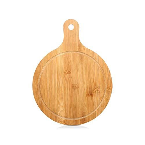 Cáscara de pizza con mango, Película de pizza de bambú de piedra de pizza, bloque de bambú Placa de pizza Placa de corte natural Tablero de corte de cocina para hornear y servir, barbacoa, parrilla ,