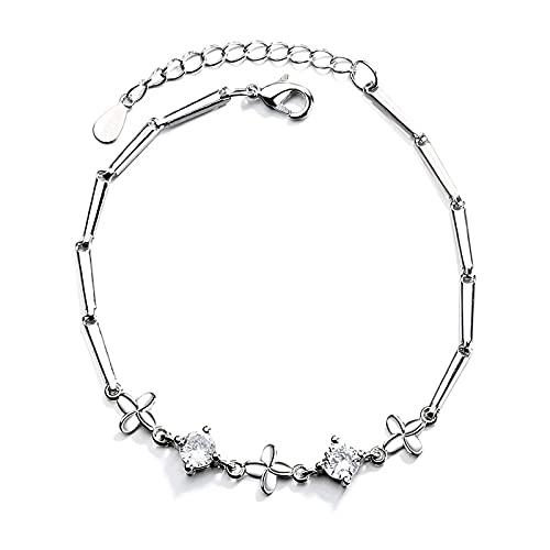 1 pulsera de trébol de cuatro hojas para mujer, pulsera de circón, regalo para el día de San Valentín