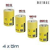 60G (Caorse) + 80G (tamaño mediano) + 120G (fino) + 220G (muy bien) óxido de aluminio rollo de papel de lija Set–4x 5m (Klingspor–Alemania)–el mejor trato en Amazon.