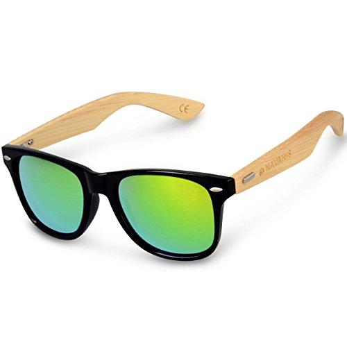 Navaris Holz Sonnenbrille UV400 - Unisex Damen und Herren Brille mit Bambus Bügeln - Holzbrille mit Etui - unterschiedliche Farben