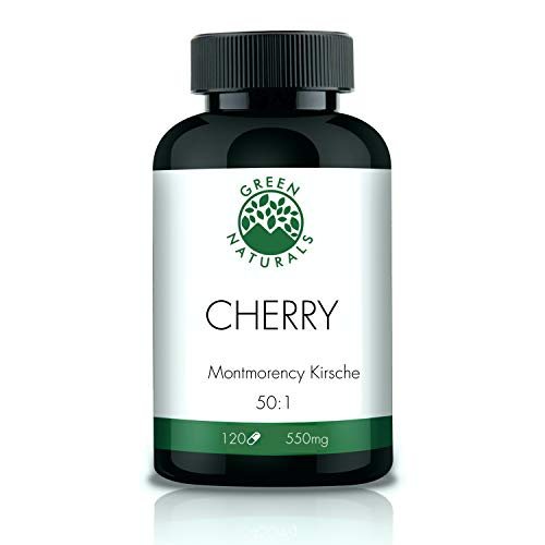 Montmorency Cherry Extract (120 Capsules of 550mg) - Per Daily Serving 55.000 mg of Montmorency Cherry Powder - German Production - 100% Vegan and Without additives - 2 Months Stock