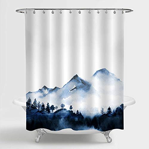 """MitoVilla Foggy Mountain Forest Scenic Shower Curtain for Bathroom Decor, Asian Foggy Mountain Peaks Nature Landscape Bathroom Accessories for Japanese and Chinese Themed Home, Blue, 72"""" W x 78"""" L"""