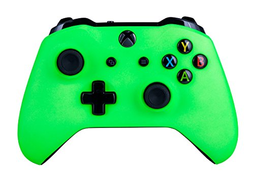 Xbox One S Customized Wireless Controller for Microsoft Xbox One - Soft Touch Neon Green X1 - Compatible with Xbox Series X|S - Added Grip for Long Gaming Sessions