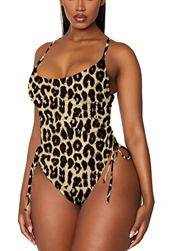 TOLENY Women's Tummy Control One Piece Swimsuits Ruched Drawstring Bathing Suits Swimwear Brown L