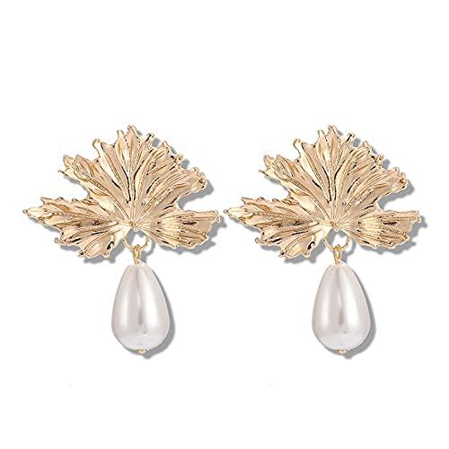 WEFH Pendientes de Flor de Perla con Forma de Hoja de joyería Americana, Oro
