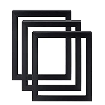 Gotham 16x20 Art Frames for Canvas - Open Air Museum Quality Painting Displays - Multipack Set of 3 in Midnight Black Finish
