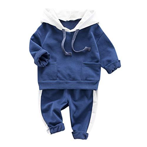 YWLINK Conjuntos Deportivos NiñOs NiñA Sudadera con Capucha Camiseta Tops SuéTer Jersey Bebe NiñO+ Pantalones Moda Casual Comodo Ropa para NiñOs Sudaderas De Deporte(Azul,12-18 meses/90)