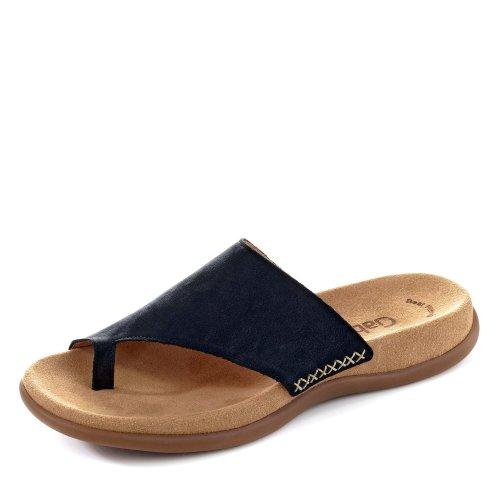 Gabor 03.700-16 Damen Pantolette aus feinem Nubukleder und vorgeformtes Fußbett, Groesse 46, dunkelblau