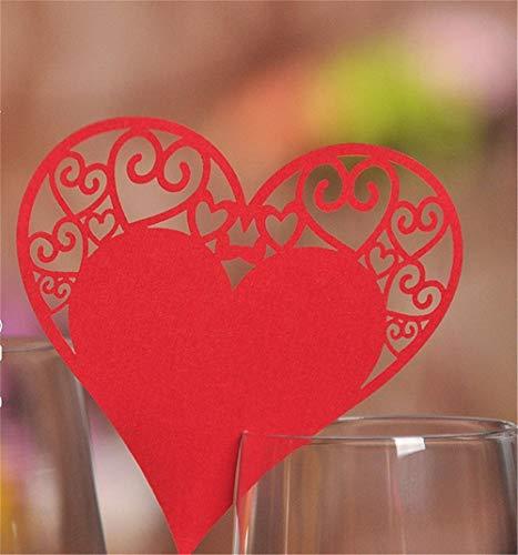 CULASIGN 100 Stück Tischkärtchen Weiß Herz Sitzkarten Glasanhänger Hochzeit Namenskarten Hochzeitsfeier Geburtstage Weinglas Deko Champagner Tischdeko Feste