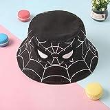 CXZA の子供の帽子漫画スパイダーマン帽子、漁師の帽子、バケツキャップ、男の子と女の子のためのsunhat、子供の帽子、綿の帽子 (色 : ブラック, サイズ : 51CM(HC))