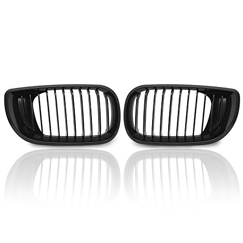 Anzio Direct Replacement Compatible with E46 3 Series 320 325 330 4 Door 2002-2005 02-05 Euro Style Front Upper Kidney Grille Grill LH & RH (Matte Black)