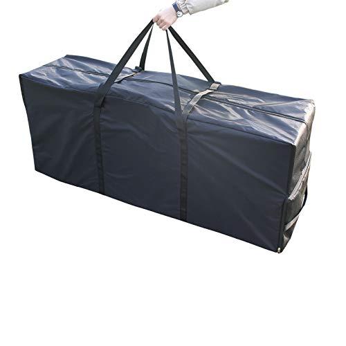 Laxllent Bolso Cojín,Bolsa de Almacenamiento para Cojines o Fundas de Jardín, Impermeable Protección UV,Bolsa de arbol de Navidad,135x40x55cm,Negro