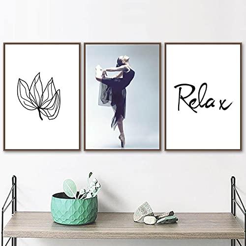 Nordic Relax Canvas Painting Poster Ballet Girl Sea Rock Beach Flower Wall Art Printsfor Living Room Home Art Decoration 60x80cmx3 Frameless