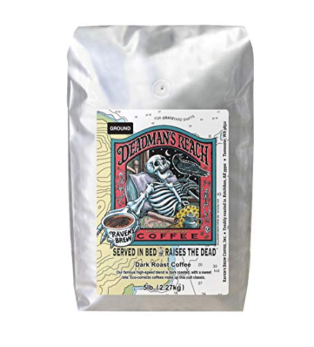 Raven's Brew Coffee Ground Deadman's Reach – Dark Roast – Breakfast Coffee Bliss with an Instant Caffeine Supercharge – Delicious as Espresso – 5lb Bag