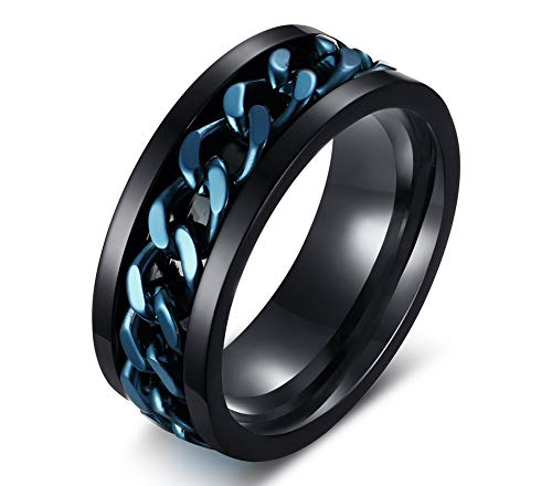 VNOX Blue and Black Plated Stainless Steel Spinner Chain Center Comfort Fit Band Wedding Ring for Men Women,Size N 1/2