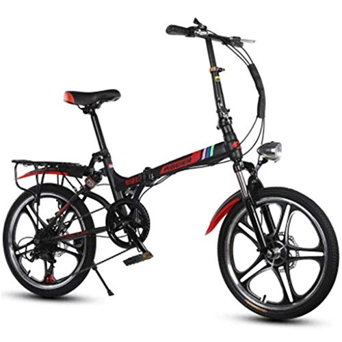 Gq2019 20 Inch Folding Bicycle Light Mountain Bike Double Shock One Round High-Carbon Steel for Male and Female Students Adult (Color : Black, Size : 1553095CM)