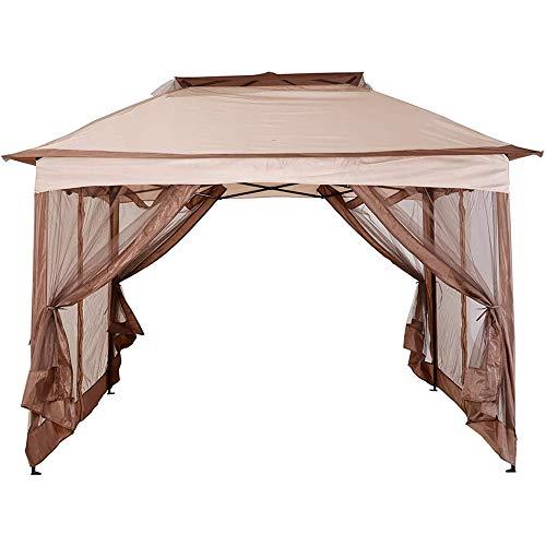 DNNAL Folding Pavilion, Elegant Garden Pavilion Garden Tent with Side Walls for Villa Courtyard Sunshine Board Terrace(3.25X3.25X2.95Cm)