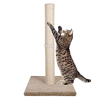 """Dimaka 29"""" Tall Cat Scratching Post, Claw Scratching Sisal Post with Carpet Base, for Kittens and Cats?Vertical Scratch [Full Strectch] (Beige/Yellow)"""