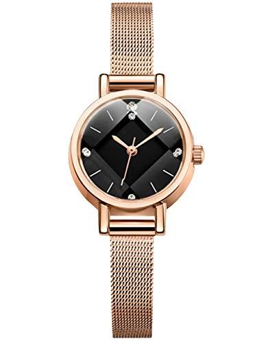 Reloj Mujer Oro Rosa Fino Acero Inoxidable Reloj Infantil Niña Impermeable Elegante Relojes de Pulsera Deportivos Malla Analogicos Reloj para Niños Esfera Negro Fecha