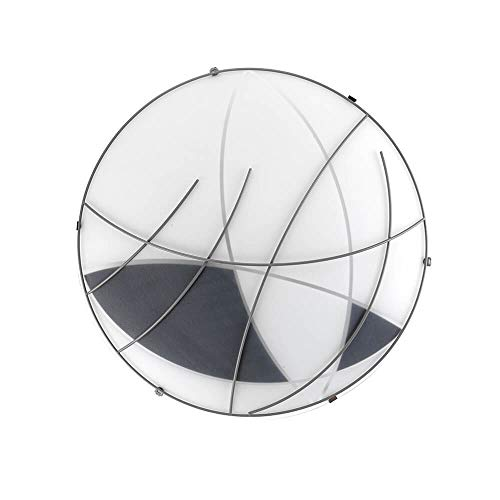 ONLI Plafoniera in Vetro Satinato Nero con Forme Geometriche. Decoro in Metallo Diametro 40cm, Bianco/Grigio