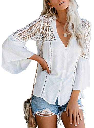 Canikat Women's Cute Fall Lace Crochet V Neck Flowy Bell Long Sleeve Blouses Solid Casual Loose Button Down T Shirts Tops White L