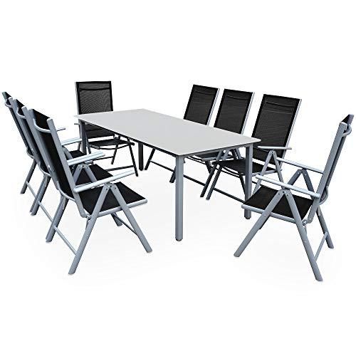 CASARIA Conjunto de Muebles 8+1 Aluminio Bern Sillas Plegables y Mesa 190x90...